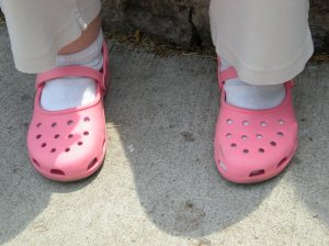 The pink crocs